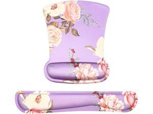 MOSISO Wrist Rest Support for Mouse Pad & Keyboard Set, Peony Ergonomic Mousepad Non-Slip Rubber Base Home/Office Pain Relief & Easy Typing Cushion with Neoprene Cloth & Raised Memory Foam, Purple