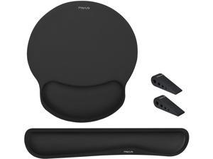 MOSISO Wrist Rest Support for Mouse Pad&Keyboard,Ergonomic Mousepad Raised Memory Foam Set Non-Slip Rubber Base Home/Office Pain Relief&Easy Typing Neoprene Cloth Cushion with Laptop Stands, Black