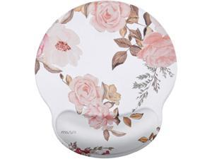 MOSISO Mouse Pad with Wrist Rest Support, Peony Ergonomic Mousepad Non-Slip Rubber Base Comfortable Home/Office Pain Relief&Easy Typing Cushion for Laptop with Neoprene Cloth&Raised Memory Foam, White