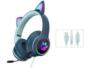 Gaming Headset Cat Ear Headphone with RGB LED Light Microphone Stereo Sound Glowing Over-Ear Gaming Headsets for Kids and Adult