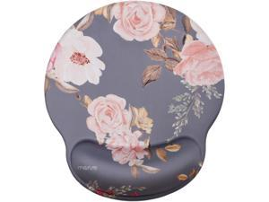 MOSISO Mouse Pad with Wrist Rest Support, Peony Ergonomic Mousepad Non-Slip Rubber Base Comfortable Home/Office Pain Relief&Easy Typing Cushion for Laptop with Neoprene Cloth&Raised Memory Foam, Gray