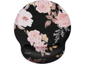 MOSISO Mouse Pad with Wrist Rest Support, Peony Ergonomic Mousepad Non-Slip Rubber Base Comfortable Home/Office Pain Relief&Easy Typing Cushion for Laptop with Neoprene Cloth&Raised Memory Foam, Black
