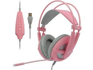 SOMIC Gaming Headset 7.1 Surround Sound for PC, Laptop, Over Ear Wired Headphone with Mic, On Ear Volume Control G238 Pink
