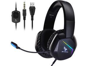 SOMIC Gaming Headset with Mic for PS4, Xbox One, PC Stereo Sound Headphone with Detachable Microphone, RGB LED Light, Soft Earmuffs, Volume Controller Gamer Headsets GS401 3.5MM Plug