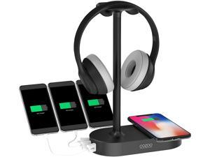 Headphone Stand Headset Holder with Wireless Charger,3 USB Port,Fast Wireless Charging Station Dock for Apple Watch, AirPods Pro/2,iPhone 12/11 Series & All Headphones Size,Gaming,DJ,Wireless Earphone