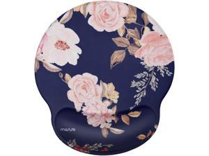 MOSISO Mouse Pad with Wrist Rest Support, Peony Ergonomic Mousepad Non-Slip Rubber Base Comfortable Home/Office Pain Relief&Easy Typing Cushion for Laptop with Neoprene Cloth&Raised Memory Foam, Blue