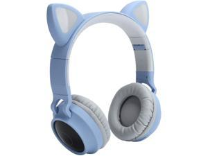 PUSOKEI Cat Gaming Headset- Wireless Cat Ear Headphones RGB 3?Color LED Breathing Light Headsets, Cat Headphones Gaming Headset with Mic