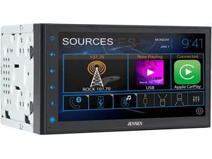 Jensen CAR68 6.8 inch LED Digital Multimedia Touch Screen Double DIN Car Stereo | Apple CarPlay Android Auto | Gesture Interface | RGB Control Panel | MP4 Video Playback | Bluetooth | USB Port