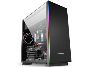 ATX Case, Gaming PC Case, Computer Case, Full-Side Transparent Desktop Host, E-ATX Slab Mid-Tower DIY Game Water Cooling, RGB Colorful Light Bar (Color : Black)