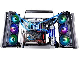 LIQIANG Pc Gaming Case Full Tower, Support Wall Mount Computer Case, Designed with Toughened Glass Side Panels Water-Cooling Ready, Open Case, Get an Excellent Gaming Experience