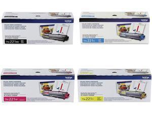 Brother TN221BK, TN221C, TN221M, TN221Y (TN-221BK, TN-221C, TN-221M, TN-221Y) 4-Color Complete Toner Cartridge Set