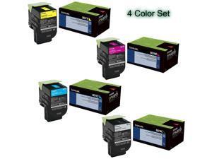 Lexmark (801) toner cartridge set, 80C10C0, 80C10K0, 80C10M0, 80C10Y0