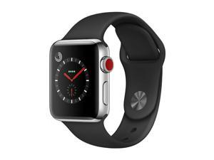 Apple Watch Series 3 38mm GPS + Cellular - Stainless Steel - Black Sport Band
