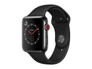 Apple Watch Series 3 38mm GPS + Cellular - Space Black - Black Sport Band