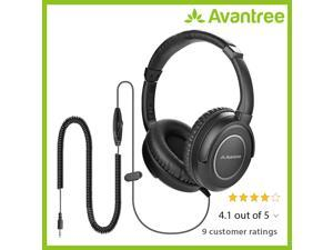 Avantree HF039 Long Coiled Cord Headphones for TV, 16.4 Feet / 5M Extended Range Cable, Over-ear Headphones, 3.5mm Audio Output, Stereo Sound Headphones with Spiral Coil Wire In-line Volume Control