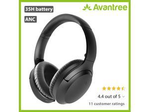 [2020] Avantree Aria Bluetooth Active Noise Cancelling Headphones with Mic, Good Sound, Replaceable Spacious Ear Pads, 35H Wireless Wired ANC Over Ear Headset for Airplane Travel PC Laptop Phone Call