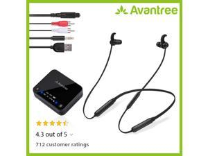Avantree HT4186 Wireless Headphones Earbuds for TV Watching, Neckband Earphones Hearing Set w/ Bluetooth Transmitter for OPTICAL Digital Audio, RCA, 3.5mm Aux Ported TVs, PLUG n PLAY, No Audio Delay