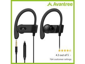 Avantree Sports Headphones Wired with Microphone, Sweatproof Running Over Ear Earphones with Ear Hook, in Ear Jogging Earbuds for Workout Exercise Gym Compatible with iPhone, Cell Phones - E171