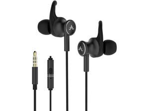 Avantree ME12 Wired Earbuds for Sports with Microphone    Sweatproof Wired Headphones with Earfin   Metal in Ear Running Earphones for Workout Exercise Gym