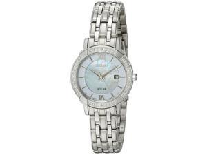 Seiko SUT277 Womens Solar Classic Diamond Dress Bracelet Pearl Dial Silver Watch