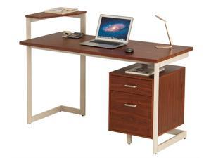 ProHT Home Office Computer Desk with Two Drawers, Walnut, 05017