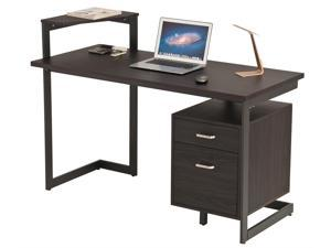 ProHT Home Office Computer Desk with Two Drawers, Chocolate Brown, 05018