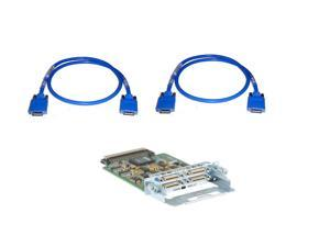HWIC-4T Cisco 2-Port Serial WAN Interface Card w/ (2) CAB-SS-2626X Cisco Smart Serial Crossover  x Asynchronous/Synchronous Serial Cable