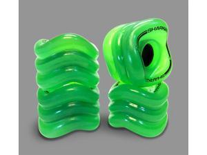 Shark Wheel Square Skateboard/Longboard Wheels (Transparent Green 70mm, 78a Wheels)