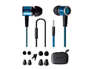 BASN 3.5mm stereo headphone  with microphone  flat cable tangle free  bass Noise Isolating earphone  in ear earbuds  with carry pouch and extra eartips for  Smart Phones
