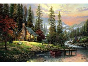 printed thomas kinkade landscape oil painting prints on canvas wall art picture for living room home decorations 40x60cm
