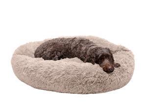 FurHaven Pet Dog Bed   Calming Cuddler Long Fur Donut Pet Bed for Dogs & Cats, Taupe, Large