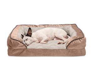 FurHaven Pet Dog Bed   Full Support Orthopedic Perfect Comfort Velvet Waves Sofa-Style Couch Pet Bed for Dogs & Cats, Brownstone, Medium
