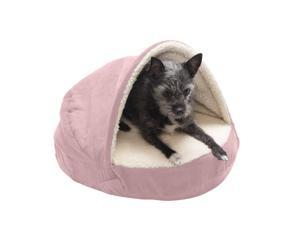 """FurHaven Pet Dog Bed   Cooling Gel Memory Foam Orthopedic Round Faux Sheepskin Snuggery Pet Bed for Dogs & Cats, Pink, 18"""" Base"""
