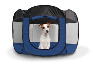 FurHaven Pet Playpen | Mesh Open-Air Dog Playpen/Exercise Pen, Sailor Blue, Large