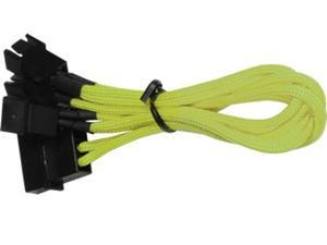 4-Pin Molex to 3x 3-Pin PC Case Fan Adapter Cable - Braided - Yellow