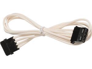 White 4-Pin Molex Single Cable Premium Braided Male to Female Molex Extension