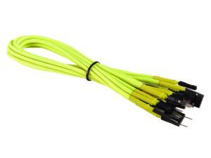 Yellow Front Panel Set HDD LED/PLED/Reset/Power/SW/SPK Extension Cable Braided