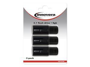 Innovera USB 3.0 Flash Drive, 8 GB, 3/Pack 82308