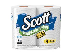 Scott Rapid-Dissolving Toilet Paper, Bath Tissue, 1-Ply, White, 231 Sheets 47617