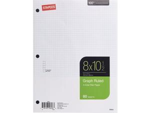 """Staples Graph Ruled Filler Paper 5x5 8"""" x 10-1/2"""" 80 Sheets TR25634M/25634"""