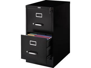 "MyOfficeInnovations 2-Drawer Vertical File Cabinet Locking Letter Black 22""D"