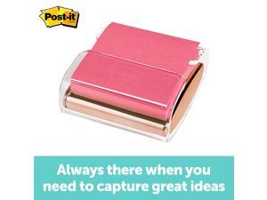 3M Post-it Pop-up Notes Dispenser, Rose Gold base, for 3 in x 3 in Notes, 1 Dispenser and 1 Pad/Pack, Pink Post-it Super Sticky Notes, 45 Sheets/Pad