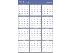 """AT-A-GLANCE 2022 48"""" x 32"""" Yearly Calendar Reversible Blue A1152-22"""