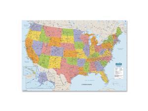 "House Of Doolittle Laminated United States Map 50""x3"" Multi-Color 720"