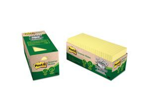 Post-it Recycled Note Pad Cabinet Pack 3 x 3 Canary Yellow 75-Sheet 24/Pack