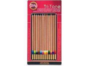 Koh-I-Noor Tri-Tone Multicolored Pencils 12/ST Multi FA33TIN12BC