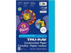 """Pacon Construction Paper 76lb 9""""x12"""" 50/PK Atomic Blue 103400"""