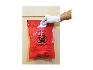 "Caretek Resources, Inc. Biohazard Waste Bag Peel/Stick 2.6 Qt 12""x14"" 100/BX RD"