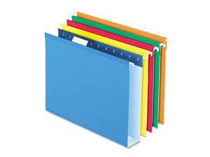 "Pendaflex 4152X2ASST 2"" Capacity Reinforced Hanging File Folders- Kraft- Letter- Assorted- 25/Box"