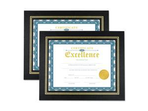 Universal Leatherette Document Frame Certificate/Document 11 x 8 1/2 Black 2/PK